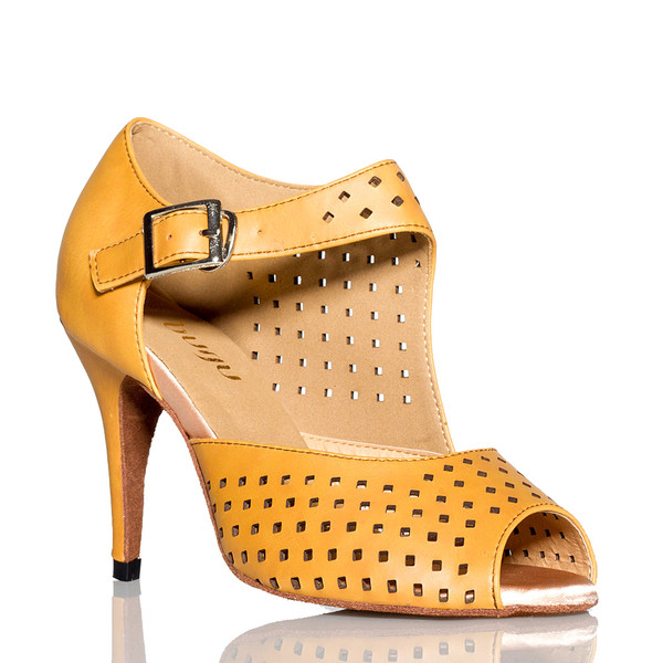 Onyx - Camel Open To Perforated Stiletto Dance Shoe - 3.5 inch Heels