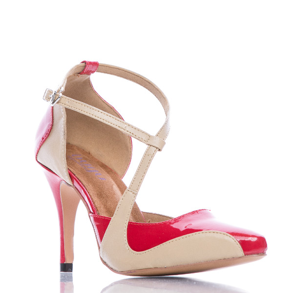 Silana - Red and Tan Pointed Toe Ankle Strap Stiletto Pump - 3.5 inch Heels