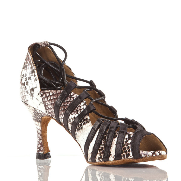 Tayla - Faux Snake Open Toe Lace Up Dance Shoe - 3 inch Flared Heels