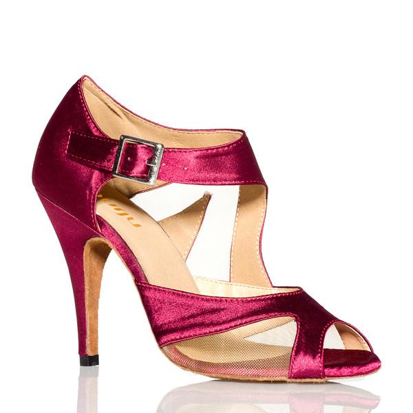 Trionyx - Burgundy Open Toe Mesh Cutout Stiletto Dance Shoe - 4 inch Heels