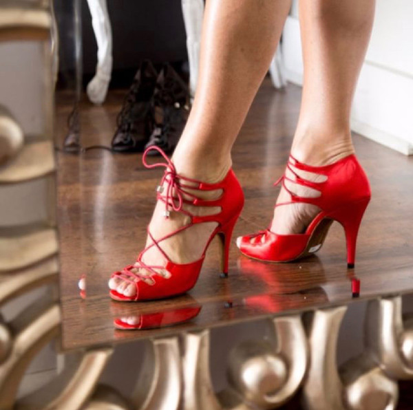 ecf232ce396 Alemana - Red Satin Open Toe Lace Up Stiletto Dance Shoe - 4 inch Heels