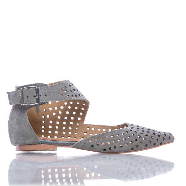 Leola - Suede Pointed Toe Perforated Flat