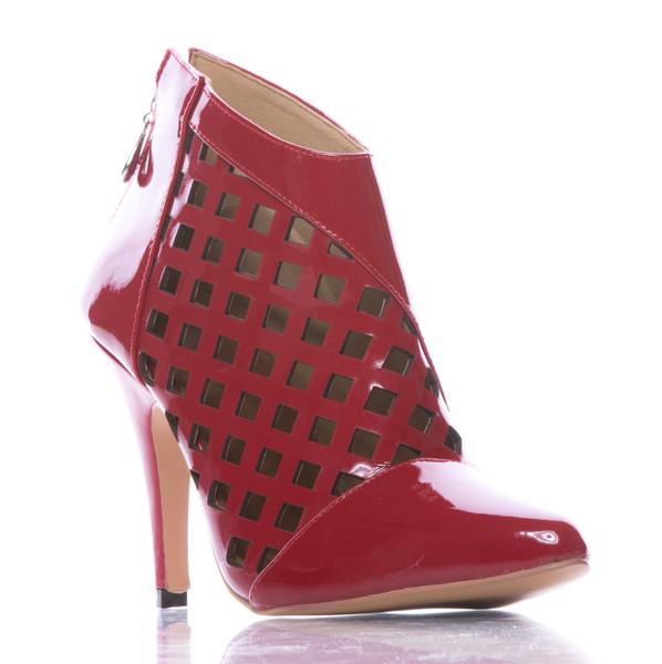 Melissa Mitro - Red Pointed Toe Cutout Stiletto Bootie - 4 inch Heels