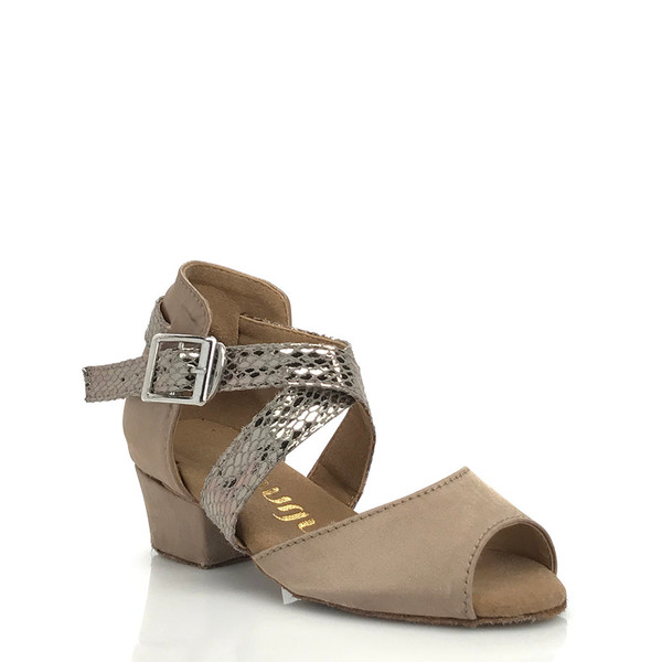 Jorjet - Youth Open Toe Thick Crossing Ankle Strap Dance Shoe - 1 inch Youth Heels
