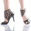 Caressa - Black Open Toe Cage Stiletto - 3.5 inch Heels