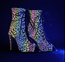 rainbow iridescent reflective lace up ankle boot for heels dance