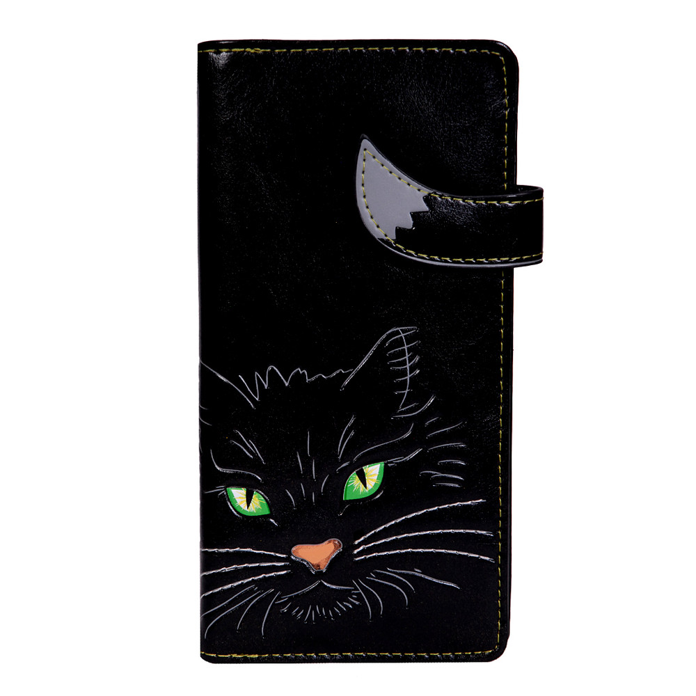 Whiskers, The Green Eyed Kitty - Large Zipper Wallet