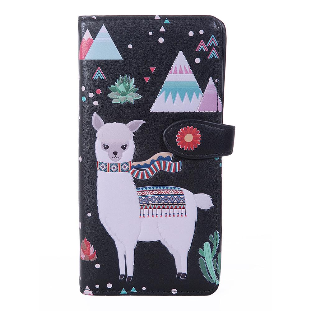 Llama Pattern - Large Zipper Wallet