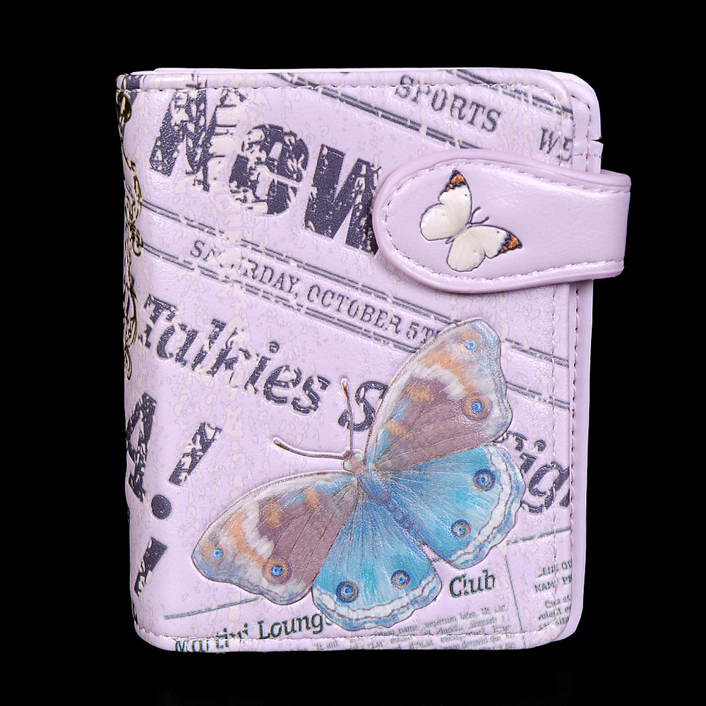 Vintage Butterfly Timepiece - Small Zipper Wallet