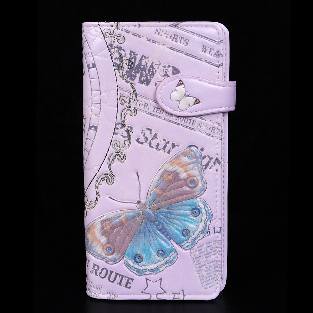 Vintage Butterfly Timepiece - Large Zipper Wallet