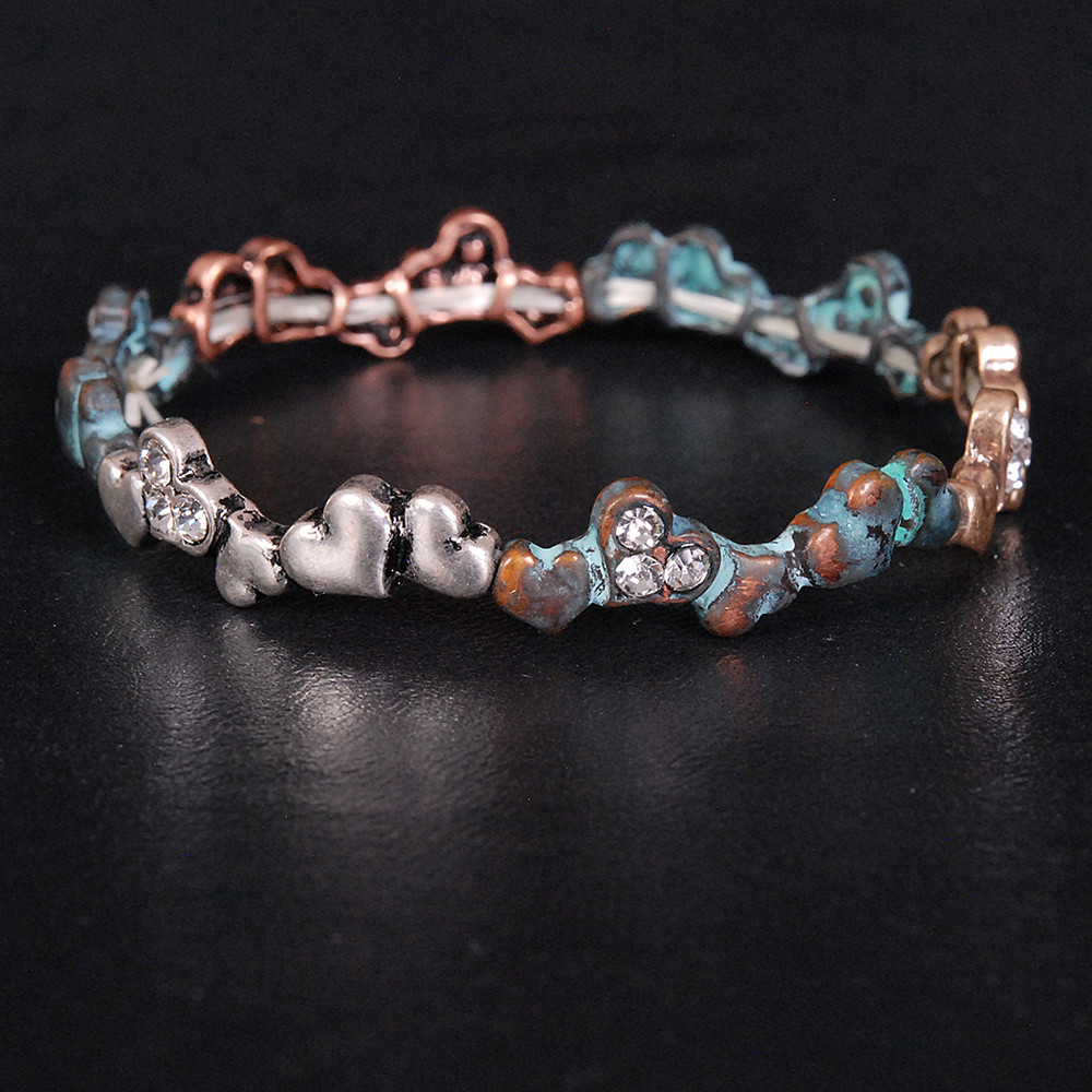Chain of Hearts - Patina Bracelet