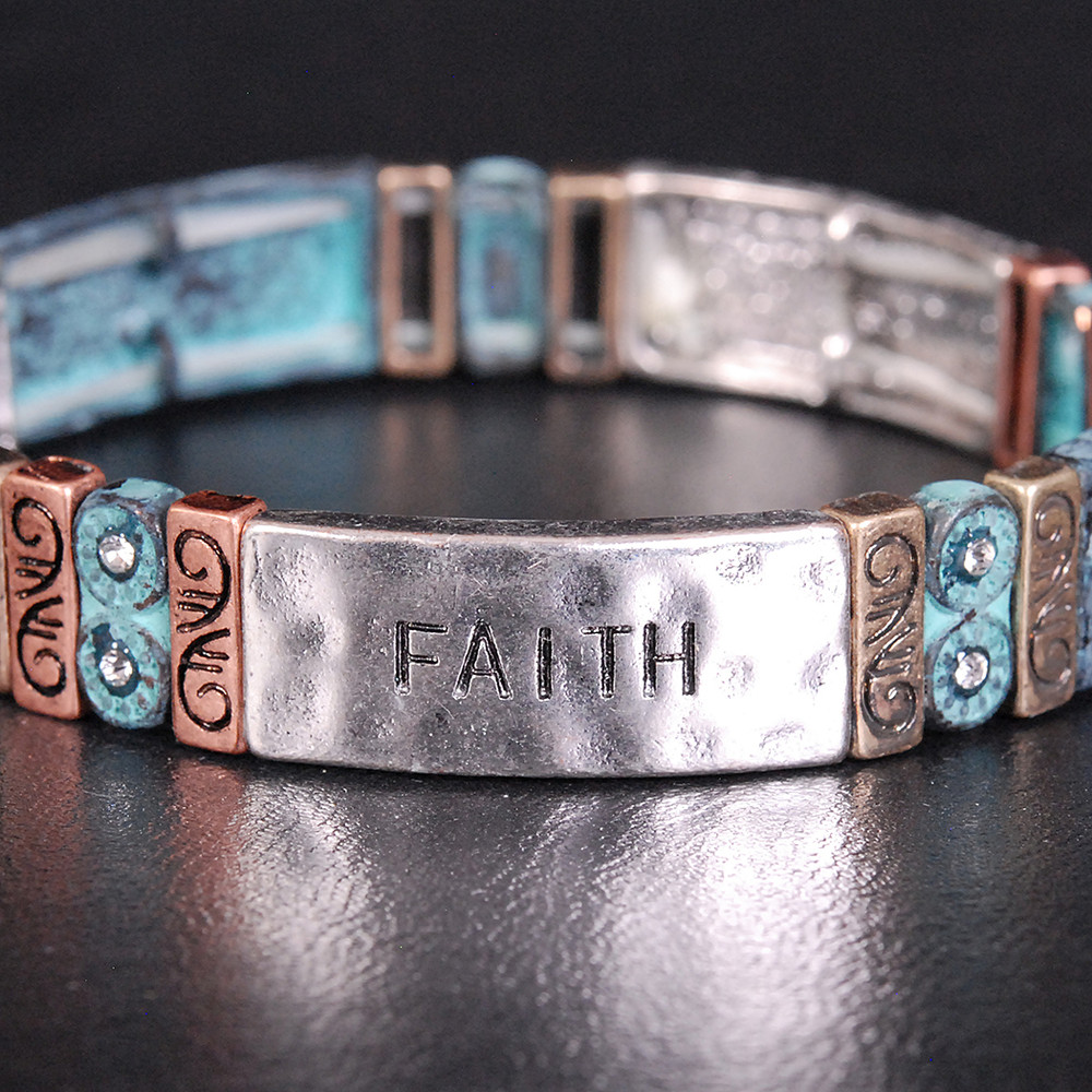 Hope, Faith, Love - Patina Bracelet