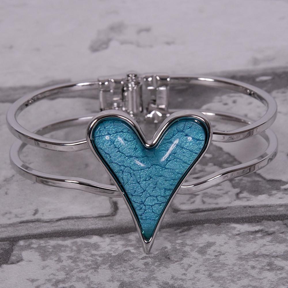 Stunning Teal Heart - Hinge Bracelet