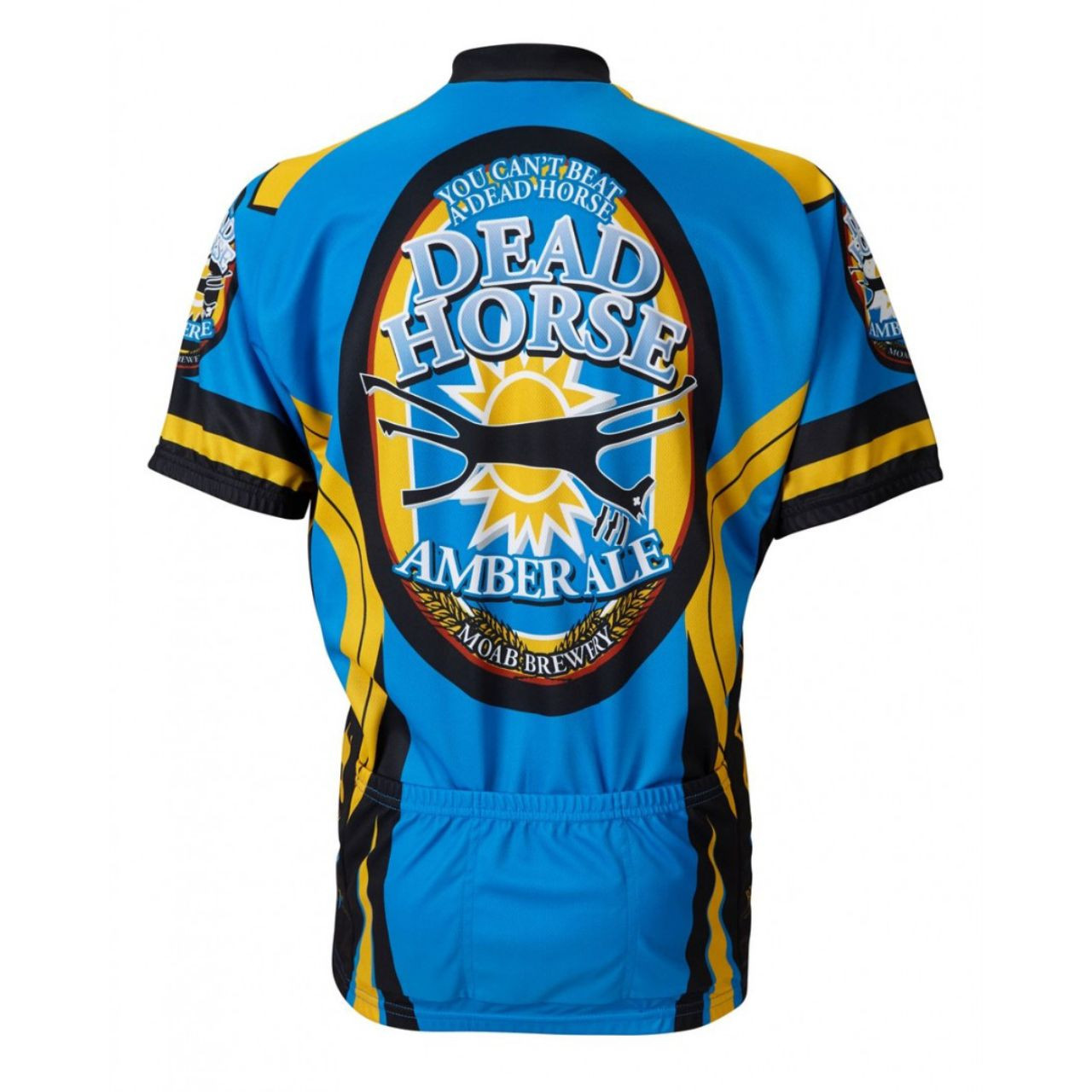 """Details about  /Moab Brewery Dead Horse Ale beer Men/'s 15/"""" Zip Short Sleeve Cycling Jersey"""