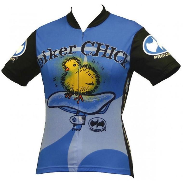Biker Chick Women's Short sleeve Half zip cycling jersey Blue