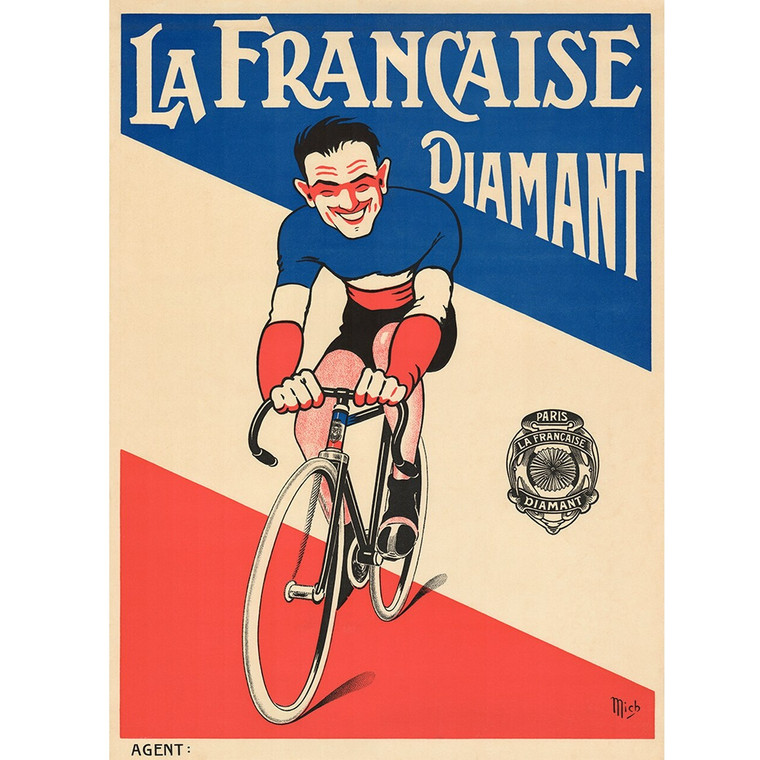 La Francaise Diamant Mich Cycling Poster Vintage Bicycling Art Poster BoyerCycling