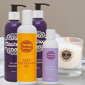 Mashooq Tea Tree shampoo, conditioner, oil, serum, candle