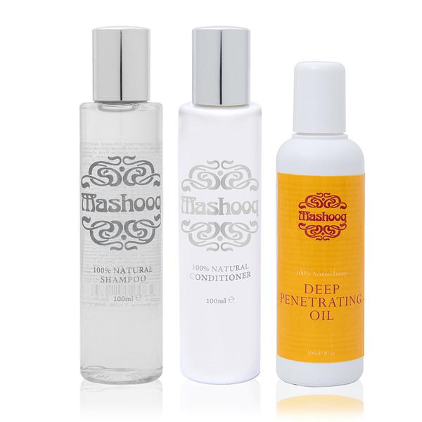 Mashooq Travel Pack (Natural shampoo, conditioner, Oil 100ml each)
