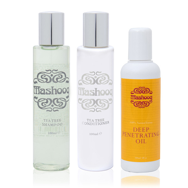 Mashooq Travel Pack (Tea tree shampoo, conditioner, Oil 100ml each)