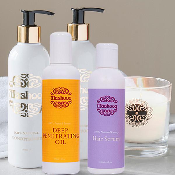 Mashooq Natural Shampoo, Conditioner, Oil (250ml), Serum, Candle