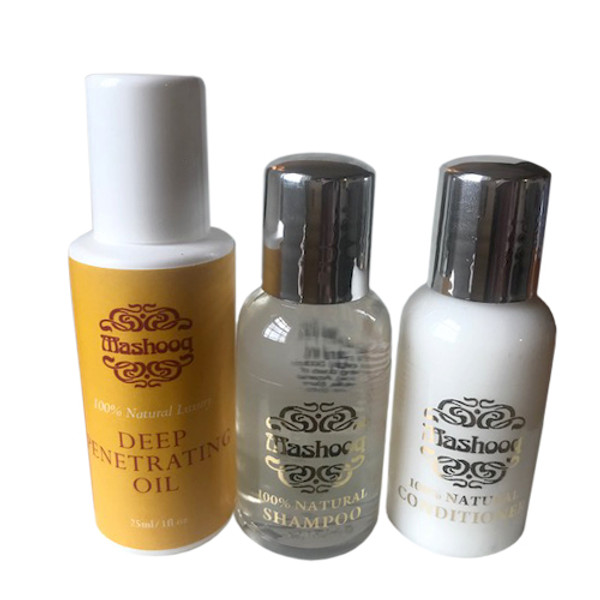 The pack contains Mashooq 25 ml Deep Penetrating Oil, 100% Natural Shampoo and Conditioner.