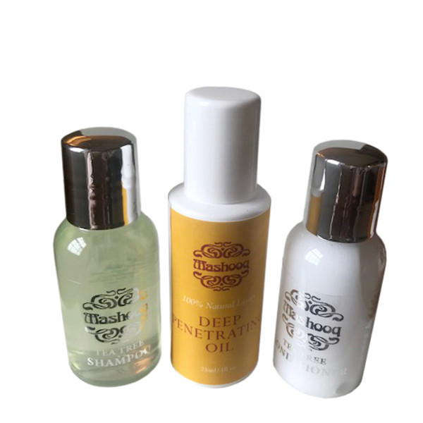 The pack contains 25ml deep penetarting oil, 30 ml tea tree shampoo and conditioner.