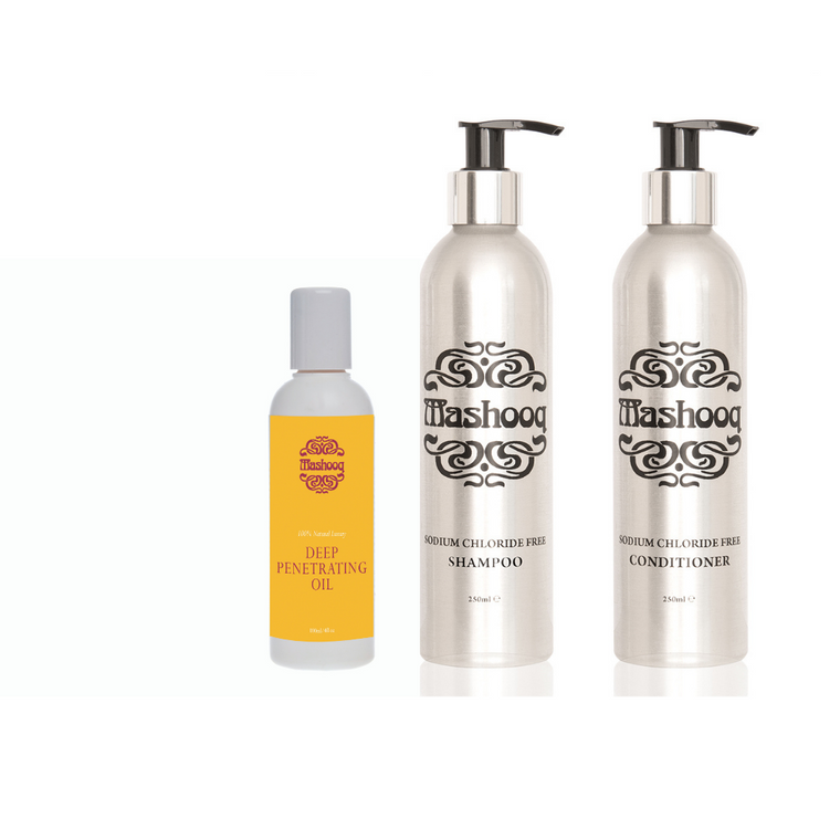 Mashooq Shampoo and Conditioner for Keratin Treated , Extensions + 100ml oil