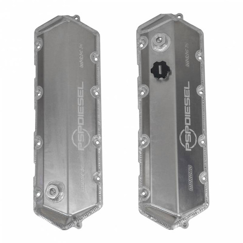 PSP Diesel 7.3L Power Stroke Aluminum Valve Covers made of TIG welded 5051 aluminum with a polished finish. (Not Available)