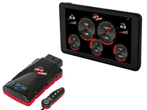 AFE AGD Advanced Gauge Display Monitor & SCORCHER BLUE Bluetooth Power ModuleFord Diesel Trucks 17-19 V8-6.7L (td)