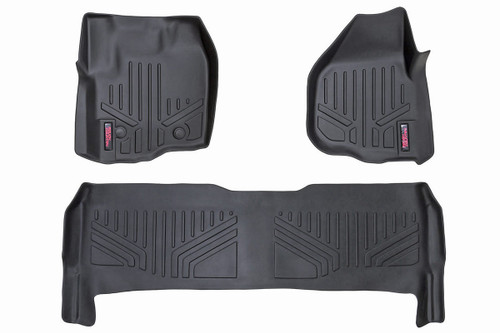 Rough Country Heavy Duty Floor Mats [Front/Rear] - (12-16 Ford Super Duty Crew Cab | Raised Pedal)