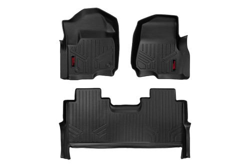Rough Country Heavy Duty Floor Mats [Front/Rear] - (17-20 Ford Super Duty Crew Cab)