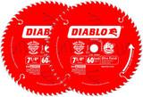 "Diablo 7-1/4"" x 60-Tooth ATB Finish Saw Blade w/ 5/8"" Arbor, 2-Pack # D0760X-2PK"