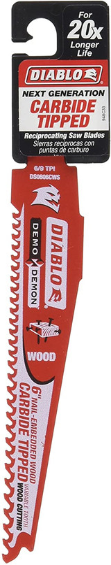 Diablo Genuine 6in Carbide Recip Blade for Nail‑Embedded Wood # DS0606CWS