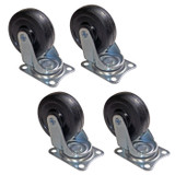 Set of 4 Rubber Wheels for Rolling Wire Racks