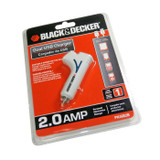 Black and Decker Genuine OEM Replacement 12 Volt DC, 2 Amp USB Charger # PIUSB2B