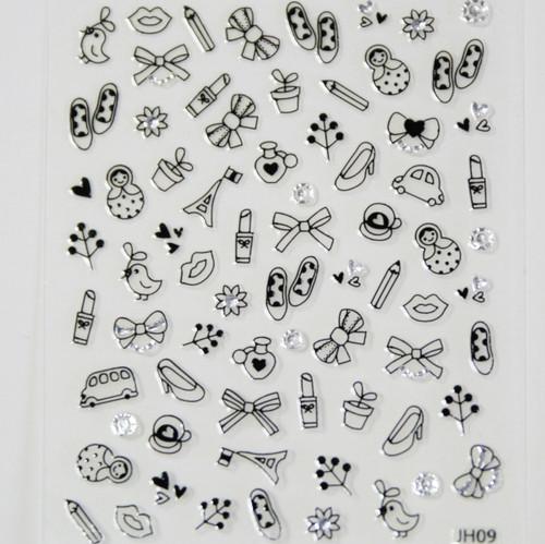 Lifestyle Stickers: lipstick bow, shoes, car dolls,lips, bird, paris pencil