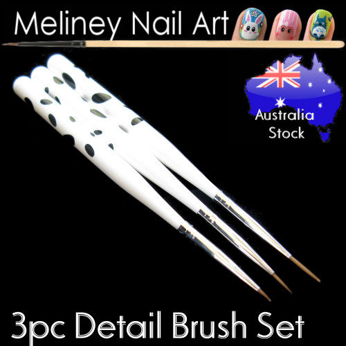 3pc nail art detail brush set