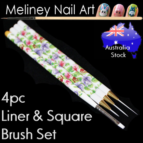4pc Liner and Square Brush set