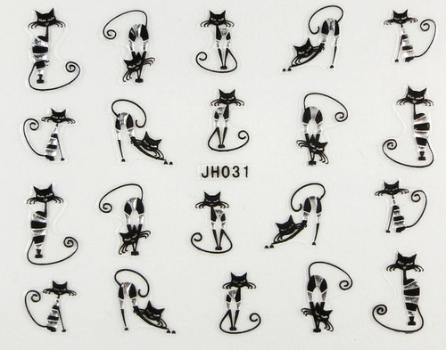 stripy black skinny cat nail stickers