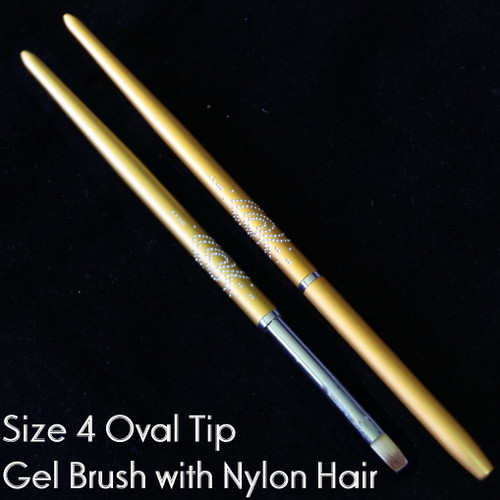Gel Brush Metal Handle Nail Art UV Builder Design Pen Oval Tip