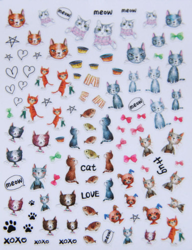 cats and dogs nail stcikers