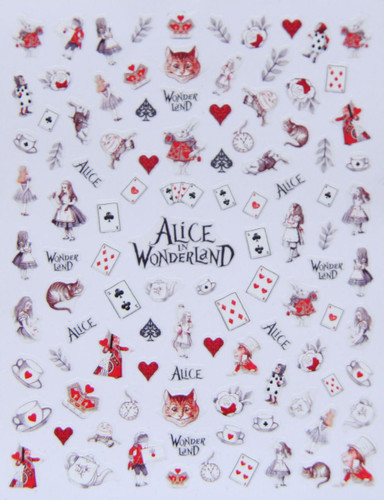 Alice in Wonderland nail stcikers