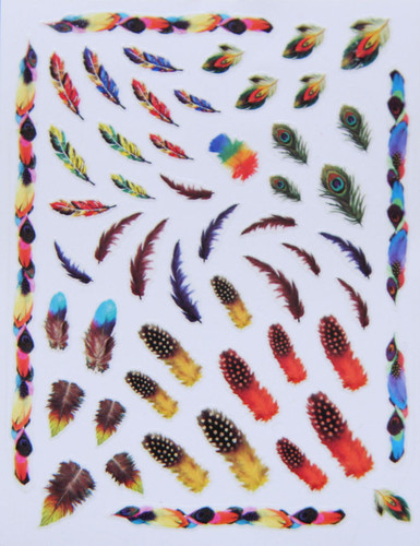 Rainbow Feather Nail Stickers