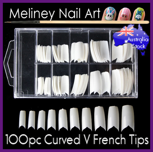 100pc curved v french nail tips