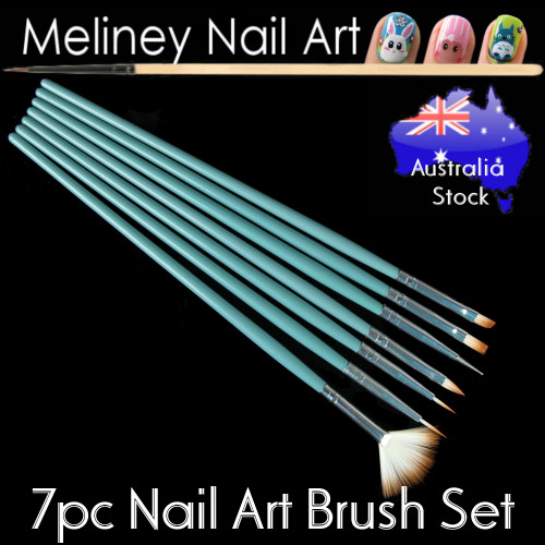 7pc nail art brush set green