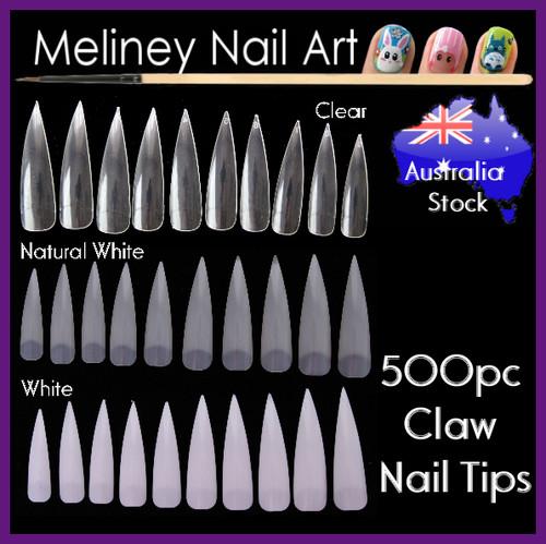500pc Stiletto Claw nail Tips half cover