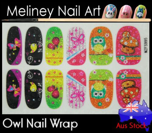 Glitter Nail Wraps - Owl