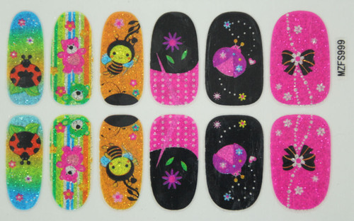 Glitter Nail Wrap - Honey Bee