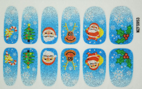 Glitter Nail Wrap - Blue Christmas