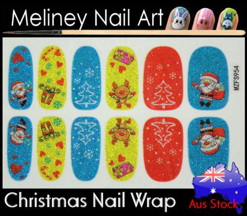 Glitter Nail Wrap - Christmas